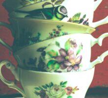 Vintage Tea Cups on Vintage Table Sticker