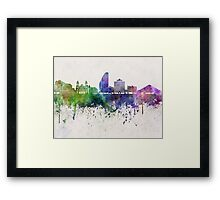 San Jose skyline in watercolor background Framed Print