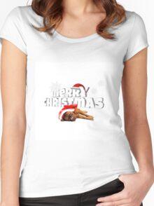 Dogue de Bordeaux dog Santa Hat Merry Christmas Women's Fitted Scoop T-Shirt