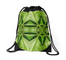 Green leaves symmetry Drawstring Bag