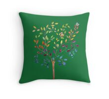 Tree with bird and cat Throw Pillow