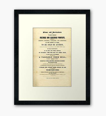 Treeton Mill, Rotherham, sale poster, 1851 Framed Print