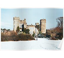 Malahide Castle in snow, Co. Dublin, Ireland. Poster