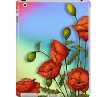Red Poppies on Colourful Background, Colour Pencil Art, Flowers iPad Case/Skin