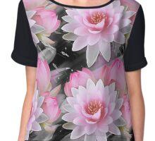 Black and Pink Lotus Flower Chiffon Top
