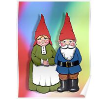 Gnome Couple on Colorful Background, Cute Gnome Drawing Poster