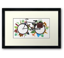 Global Bicycle round the world - save the planet design Framed Print