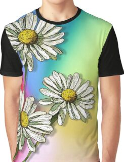 Three Daisies on Mulit-Colour Background, Flowers, Art Graphic T-Shirt