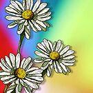 Three Daisies on Mulit-Colour Background, Flowers, Art by Joyce Geleynse