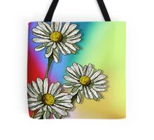 Three Daisies on Mulit-Colour Background, Flowers, Art Tote Bag