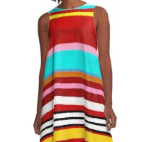 Watermelon Red Striped Colors A-Line Dress