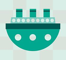 Teal Checkered Boat by Amy Huxtable