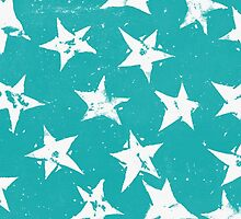 Linocut Stars - Verdigris & White by Tracie Andrews