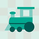 Teal Checkered Train by Amy Huxtable