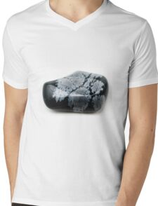 Cutout of a Snowflake Obsidian gemstone on white background Mens V-Neck T-Shirt