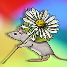 Cute Mouse with Daisy on Multi-Colour Background by Joyce Geleynse