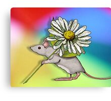 Cute Mouse with Daisy on Multi-Colour Background Canvas Print