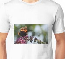 A weathered Red AdmirelButterfly on Butterfly Bush Unisex T-Shirt