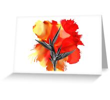 Black and White Bird of Paradise Flower Color Explosion Greeting Card