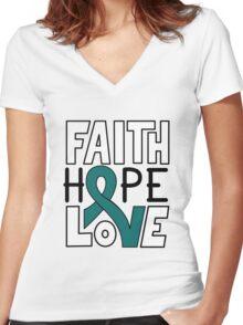 Faith Hope Love - Ovarian Cancer Awareness Women's Fitted V-Neck T-Shirt