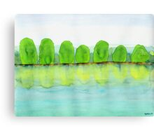 Trees Refecting On The Water Canvas Print