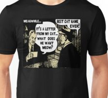 Funny Cartoon- What Does He Want Meow? Gold Unisex T-Shirt