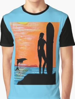 SURFER GIRL WITH LEAPING DOLPHIN Graphic T-Shirt