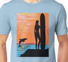SURFER GIRL WITH LEAPING DOLPHIN Unisex T-Shirt