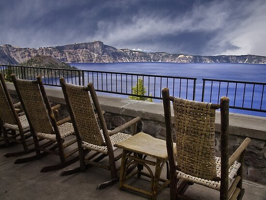 A Seat With a View - Crater Lake National Park by Kathy Weaver