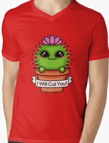 Cute I'll Cut You Cactus Mens V-Neck T-Shirt