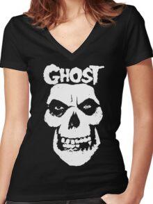 Crimson Ghost B.C Skull Women's Fitted V-Neck T-Shirt