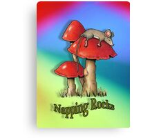 Nursery Decor, Naps, Mouse on Toadstool, Multi-Colour Background, Kids Canvas Print