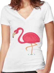 Cute Flamingo Women's Fitted V-Neck T-Shirt