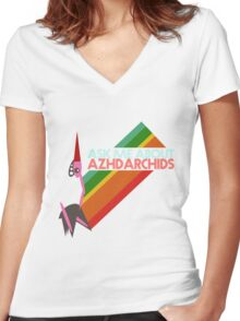 Ask Me About Azhdarchids (light version) Women's Fitted V-Neck T-Shirt
