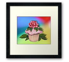 Cupcake with Pink Rose on Multi-Colour Background, Art Framed Print
