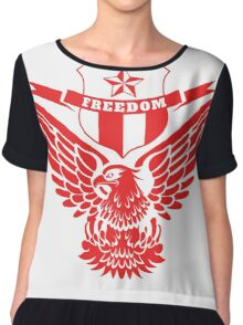 Freedom Crest -Red Chiffon Top