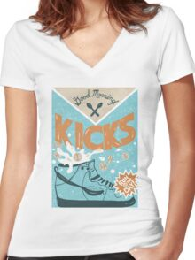 K/CKS Women's Fitted V-Neck T-Shirt