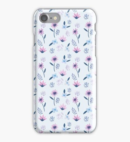 Blue and Purple Funky Flowers Pattern  iPhone Case/Skin