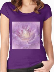 Big Lavender Pink Rose Glow Women's Fitted Scoop T-Shirt