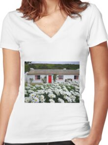 Irish Cottage With Daisies Women's Fitted V-Neck T-Shirt
