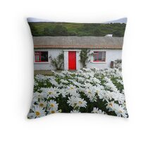 Irish Cottage With Daisies Throw Pillow