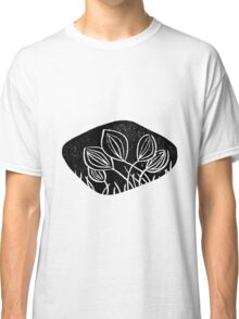 Meadows, grassland, lino cut printed pattern, nature inspired, handmade, black and white Classic T-Shirt