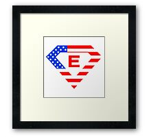 Super alphabet letter with USA flag Framed Print