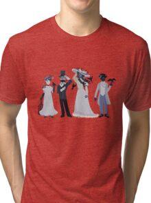 Blue, flowers, and birds Tri-blend T-Shirt