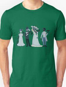Blue, flowers, and birds Unisex T-Shirt