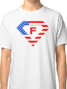 Super alphabet letter with USA flag Classic T-Shirt