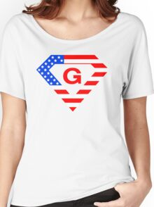 Super alphabet letter with USA flag Women's Relaxed Fit T-Shirt