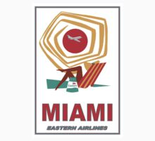 """EASTERN AIRLINES"" Vintage Fly to Miami Print One Piece - Short Sleeve"