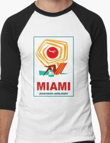 """EASTERN AIRLINES"" Vintage Fly to Miami Print Men's Baseball ¾ T-Shirt"
