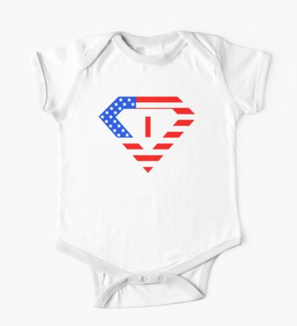 Super alphabet letter with USA flag One Piece - Short Sleeve